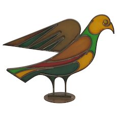 HAGENAUER Stained Glass & Brass Dove Mid Century Vienna