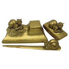 SNAIL CHILDREN Art Nouveau Vienna Bronze Desk Set Tereszczuk