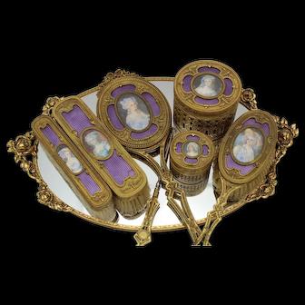 19th c French Ormolu Bronze & Enamel Dresser Set w/ Portrait Miniatures
