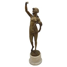 BRUNO ZACH Risque Bronze Bather w/ Laurel Austrian Vienna TUCH