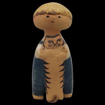 """PELLE"" Gustavsberg Lisa Larson Swedish Ceramic Figure, Boy with Cat"