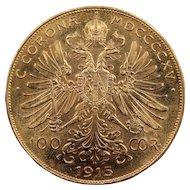 1915 Austria Gold 100 Corona Coin, Mint State Condition