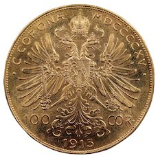 1915 Austria Gold 100 Corona Coin, Mint State Condition