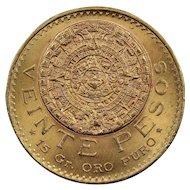 1959 Mexico 20 Pesos Gold Coin, About Uncirculated Condition