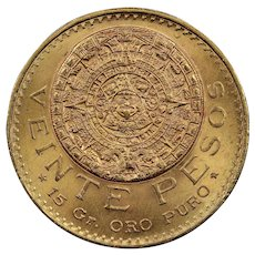 1959 Mexico 20 Pesos Gold Coin, About Uncirculated Condition