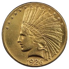 1926 U.S. Gold Eagle Coin, Indian Head Design, About Uncirculated Condition