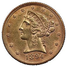 1894 U.S. Gold Half Eagle Coin, Liberty Head Design, About Uncirculated Condition