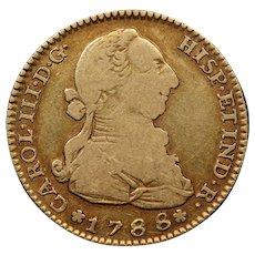 1788 Spain Gold 2 Escudos Coin, Spanish Empire