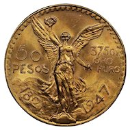 1947 Mexico Gold 50 Pesos Coin, Mint State Condition