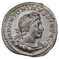 221 A.D. Ancient Roman Coin, Emperor Elagabalus, Silver Denarius