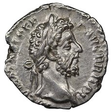 191 A.D. Ancient Roman Empire Coin, Emperor Commodus, Silver Denarius