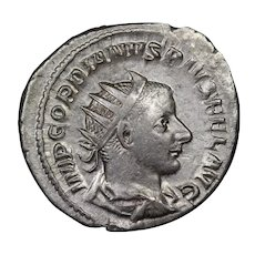 240 A.D. Ancient Roman Empire Coin, Emperor Gordian III, Silver Antoninianus