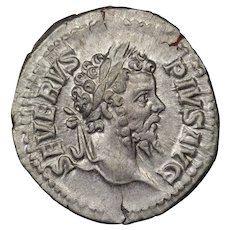 203 A.D. Ancient Roman Empire Coin, Emperor Septimius Severus, Silver Denarius