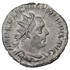 253 A.D. Ancient Roman Empire Coin, Emperor Valerian, Silver Antoninianus