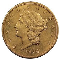 1904 U.S. Gold Double Eagle Coin, Liberty Head Design, About Uncirculated Condition