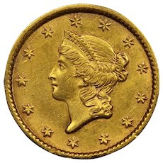 1853 U.S. Gold Dollar Coin, Liberty Head Design, About Uncirculated (AU) Condition