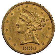1880 U.S. Gold Half Eagle Coin, Liberty Head Design, About Uncirculated Condition