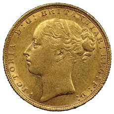 1884 Great Britain Sovereign Gold Coin, Queen Victoria, About Uncirculated Condition