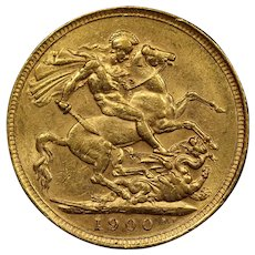 1900 Great Britain Sovereign Gold Coin, Queen Victoria, About Uncirculated Condition