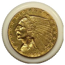 1929 U.S. Indian Head Gold Quarter Eagle Coin, Extremely Fine Condition
