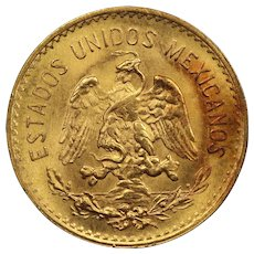 1955 Mexico Gold 5 Pesos Coin, Mint State Condition