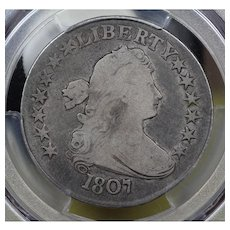 1807 U.S. Half Dollar Silver Coin, Draped Bust Design, PCGS Very Good VG-8 Condition
