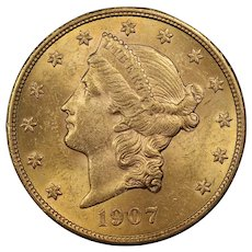 1907 U.S. Gold Double Eagle Coin, Liberty Head Design, Mint State Condition
