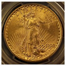 1908 U.S. Gold Double Eagle Coin, Saint-Gaudens Design, PCGS MS-64 Mint State Condition