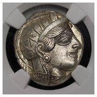 440 B.C. Ancient Greek Silver Tetradrachm Coin of Athens, Athenian Owl Design, NGC Mint State (MS) Condition