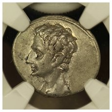 19 B.C. Ancient Roman Silver Denarius Coin, Emperor Augustus, NGC Extremely Fine (XF) Condition, Capricorn Design