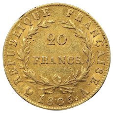 1806 France Gold 20 Francs, Emperor Napoleon Bonaparte, Very Fine (VF) Condition