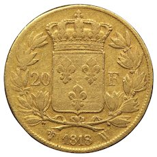 1818 France Gold 20 Francs, King Louis XVIII, Fine Condition