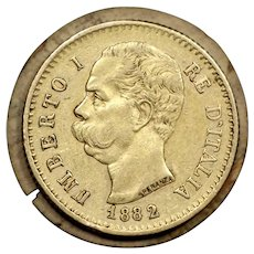 1882 Italy 20 Lire Gold Coin, King Umberto I, Very Fine Condition