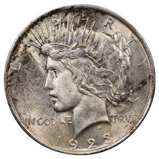 1923 U.S. Peace Silver Dollar Coin, Mint State Condition, Toned