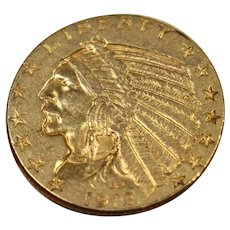 1913 U.S. Indian Head Gold Half Eagle Coin, About Uncirculated Coin