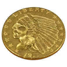 1911 U.S. Indian Head Gold Quarter Eagle Coin, About Uncirculated Coin