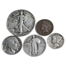 Old U.S. Coins Silver 5-Coin Set - Indian Head Cent, Buffalo Nickel, Mercury Dime, Standing Liberty Quarter, Walking Liberty Half Dollar