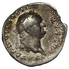 75 A.D. Roman Coin, Ancient Silver Denarius, Emperor Vespasian, Roman Empire