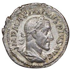 235 A.D. Emperor Maximinus Thrax Ancient Roman AR Silver Denarius Coin, Victory Design