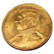 1914 Belgium Gold 20 Francs Coin, King Albert, Mint State Condition
