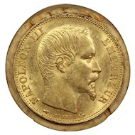 1859 France Gold 20 Francs Coin, Emperor Napoleon III, About Uncirculated Condition