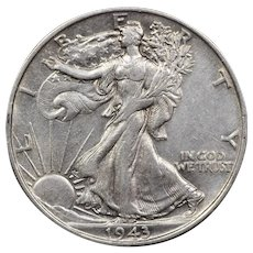 1943 U.S. Silver Half Dollar Coin, Walking Liberty Design, About Uncirculated Condition