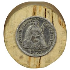 1873 U.S. Silver Half Dime, Seated Liberty Design, Fine Condition, San Francisco Mint