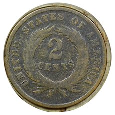 1865 U.S. Two Cents Bronze Coin, Fine Condition