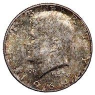 1964 U.S. Kennedy Silver Half Dollar Coin, Brilliant Uncirculated Condition, Rainbow Toning
