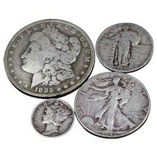 Old U.S. Silver Dollar and Type Coin Set - Morgan Dollar, Walking Liberty Half Dollar, Standing Liberty Quarter, Mercury Dime