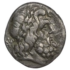 c. 100 B.C. Ancient Greek AR Silver Stater Coin, Zeus Design, City of Thessaly