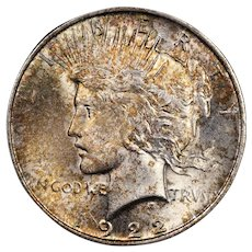 1922 U.S. Peace Silver Dollar Coin, Mint State Condition, Multicolored Toning