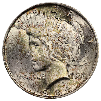 1924 U.S. Peace Silver Dollar Coin, Mint State Condition, Multicolored Toning