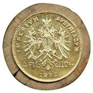 1892 Austria Gold 4 Florin / 10 Francs Coin, Francis Joseph I, Mint State Condition
